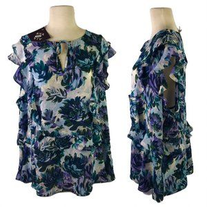 NEW Ava & Viv Womens 3X Floral Blouse